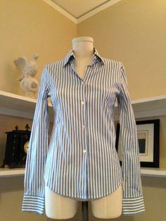 LORO PIANA Blue White Cotton Striped Button Down Shirt Sz Eur 40/US 2 #LoroPiana #ButtonDownShirt