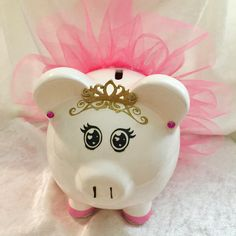 Personalized Princess Ballerina Piggy Bank, with tutu, ballet slippers, earrings and handmade gold crown and beautiful lashed eyes. by TmangsTreasures on Etsy Pig Bank, Personalized Piggy Bank, Baby Barbie, Winnie The Pooh Quotes, Mini Pig, Cute Piggies, This Little Piggy, Cricut Creations, Baby Shawer