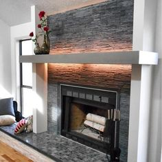 The Tile Shop - Adoni Black Stanley Slate Architectural Tile 4 x 16, and Milky Black Polished 2x2
