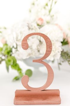 Copper rose gold wedding table numbers