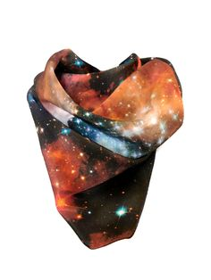 Crimson silk handkerchief, galaxy print scarf. 	 by Shadowplaynyc #etsy