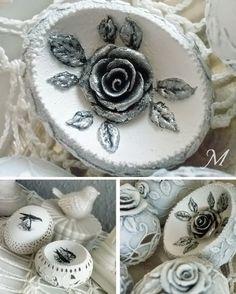Pomysł na jajo kurze; ażurki, transfer i róże z gliny samoutwardzalnej.