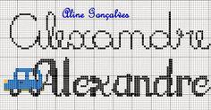 Aline Ponto Cruz e Artesanato: Nome Alexandre em Ponto Cruz