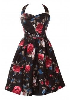 Cecilia Halterneck 50'S Style Swing Dress in Black