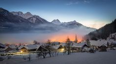 Foggy Winter Sunset - This picture shows the village Dellach after sunset.