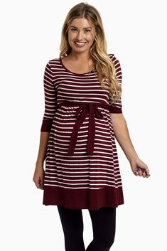 Burgundy-Striped-3/4-Sleeve-Sash-Tie-Maternity-Tunic