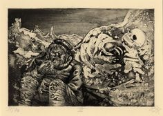 Art of the apocalypse: Otto Dix's hellish first world war visions – in pictures | Art and design | The Guardian  Mealtime in the Trenches (Mahlzeit in der Sappe). A trench soldier quickly gulps down a meal in the company of a human skeleton trapped in the frozen landscape beside him. Photograph: Courtesy The Trustees of the British Museum ©DACS 2014