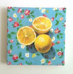 Still life of Lemons and flowers / Tiny canvas print -FOLK ART PRINT -blue yellow green Colors - canvas art print - Kitchen decor