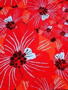 60s Marjatta Metsovaara vintage retro red designer fabric. Made by Tampella Finland. Great condition on Etsy, $78.35 AUD