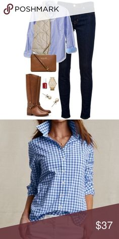 J CREW Gingham SHIRT Blue White Sz 6 Perfect Shirt So Chic!! In gentle pre-owned condition J. Crew Tops Blouses