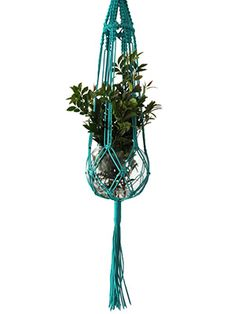 Bright-turquoise woven plant hanger #home #decor