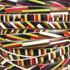 Ornate Printed Leather Italian Flat 5mm - Stripes