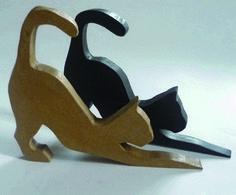 CALE-PORTE en bois : LOT de 2 CHATS, noir et ciré