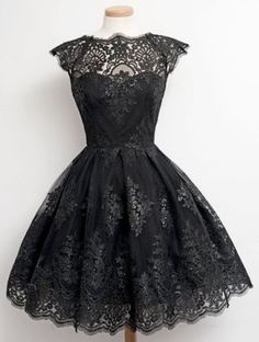 So Pretty! Gorgeous Lace! Fashionable Round Collar Cap Sleeve Black Lace A-Line Dress For Women #Black #Lace #Party #Dress #LBD #Fashion