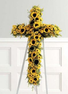 Sunflower Cross from Colonial House of Flowers | Statesboro Florist Shop Since 1968