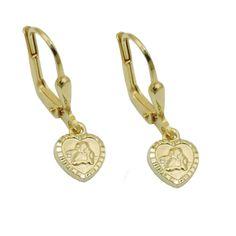 Leverback Earrings Heart Angel 14k Gold