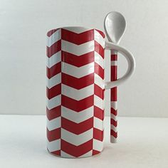 Starbucks Espresso Coffee Tea Cup with Spoon Red Chveron Striped Candy Cane Ceramic 8 Ounce. One tiny chip on the bottom rim (show in last photos). Starbucks http://www.amazon.com/dp/B010TU1UVI/ref=cm_sw_r_pi_dp_ztALvb126BDQZ