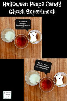 Halloween Peeps Candy Ghost Experiment- Your children at school and at home with have fun exploring what happens when Peep ghosts send the night in various liquids. This STEM activity has free printable that goes with it.