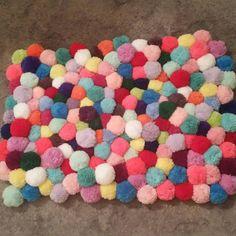 Colourful pompom rug by pompomfairy on Etsy