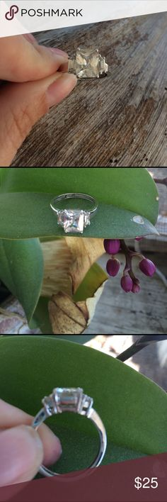 CZ size 8 Fun to wear, fashionable. Sterling silver CZ. Size 8. Never had it  size to fit. Jewelry Rings