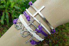 Braceletanchor braceletcross braceletlove by Colorbody on Etsy, $10.29