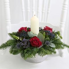 Festive Candle Arrangement With Free Express Delivery - from Lakeland Candle Arrangements, Christmas Flower Arrangements, Holiday Centerpieces, Christmas Flowers, Christmas Room, Christmas Table Decorations, Christmas Candles, Flower Centerpieces, Diy Christmas Gifts