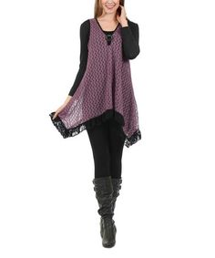 Another great find on #zulily! Purple & Black Sheer Crochet Tunic & Scoop Neck Top - Plus #zulilyfinds