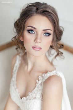 Love her soft curls and open face hairstyle ~~ 45 Glamorous Wedding updos for long and medium hair | CircleTrest