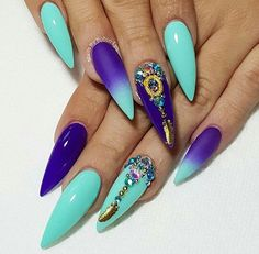 Birthday Nails, Teal & Purple Stiletto