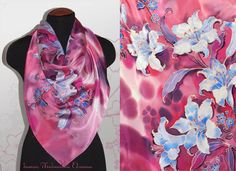 silk scarf hand painted  red  lily Women gift
