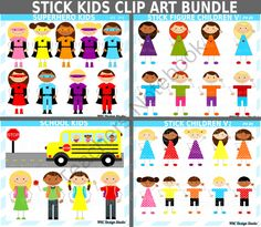 School Stick Kids Clip Art Bundle for Personal and Commercial Use from NRC Design Studio1 on TeachersNotebook.com -  (34 pages)  - Instant download school stick kids clipart bundle clip art for personal and commercial use.