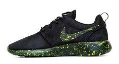 Nike Roshe One Customized by Glitter Kicks - Black / Neon Green Paint Speckle