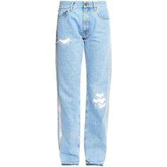 Aries Simons reflective high-rise straight-leg jeans (2.283.015 VND) ❤ liked on Polyvore featuring jeans, blue multi, distressed straight leg jeans, high rise straight leg jeans, high waisted straight leg jeans, blue jeans and high rise jeans