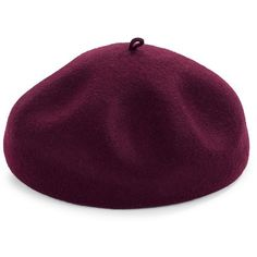 Kathy Jeanne Wool Felt Beret ($84) ❤ liked on Polyvore featuring accessories, hats, red, wool hat, wool felt hat, red beret hat, red felt hat and red wool beret