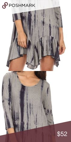 Summer time fun! This free flowing comfortable tie die looking double ruffle gorgeous little dress is made of 95% Rayon w/ 5% Spandex Dresses Mini