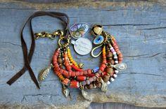 Rustic Ethnic multi strand bracelet Hippie Boho by BeadStonenSkin