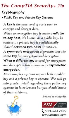 CompTIA Security+ Training / Exam Tip - Cryptography . To get Certified for CompTIA Security+ Please Repin and Visit : http://www.asmed.com/comptia-security/