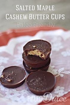 Salted Maple Cashew Butter Cups  #PaleoDulce