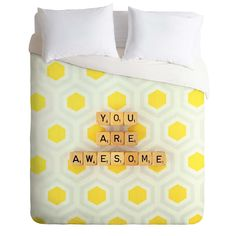Happee Monkee You Are Awesome Duvet Cover   DENY Designs Home Accessories