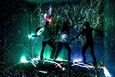 This picture might be a little extreme, but have a glow stick fight in the garage or outside somewhere! Give them a chance to get dirty and have some fun! Then put it on a ball and throw it around=)