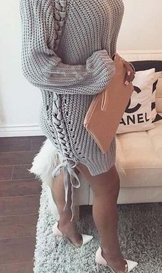 Lace Up Knit Sweater - Grey