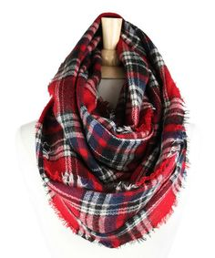 Another great find on #zulily! Red Plaid Wool-Blend Infinity Scarf #zulilyfinds
