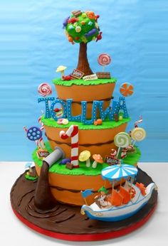 Look at the river of chocolate!!! Willy Wonka Birthday By RenP on CakeCentral.com
