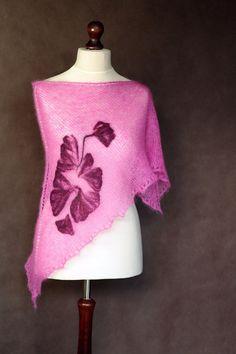 Pink shawl hand knit shawl triangular shawl by KnitwearFactory
