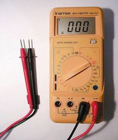 A comprehensive guide showing how to use a multimeter or DMM. A multimeter is a useful instrument in a home toolkit for measuring voltage, current and resistance and also for tracing breaks in wires, testing diodes, capacitors and fuses. Electrical Wiring Diagram, Electrical Projects, Electrical Tools, Electrical Engineering, Ac Wiring, Electrical Tester, Hvac Tools, House Wiring, Electrical Switches
