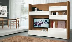 TV unit with closed cupboards and shelves