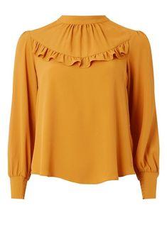 $50 PETITE  Petite Yellow Ruffle Top Petite Fashion Tips, Petite Outfits, Hijab Fashion, Fashion Dresses, Iranian Women Fashion, Womens Fashion, Petite Tops, Ruffle Top, Blouse Designs