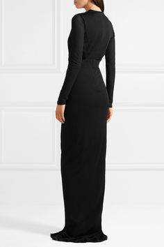 Black stretch-jersey Concealed hook and zip fastening at back viscose Made in ItalyLarge to size. Doutzen Kroes, Plunging Neckline, Tom Ford, Rihanna, Stretches, Toms, High Neck Dress, Celebrities, How To Wear