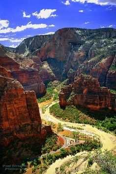 The Virgin River's Big Bend Viewed from Scout's Lookout at Zion National Park, Utah; photo by Paul Fernandez