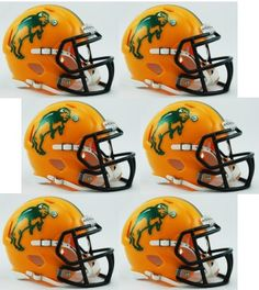 North Dakota State Bison NCAA Mini Speed Football Helmet 6 count Collectible 28a3a37b4